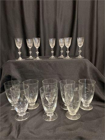 Vintage Etched Glass Set