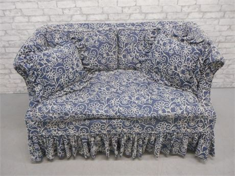 BLUE AND WHITE DOWN FILLED SLIP COVERED LOVESEAT