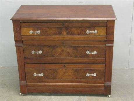ANTIQUE CHEST OF DRAWERS WITH BURLWOOD INLAY