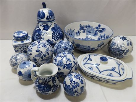 12-Piece Blue & White Decorative Pottery Lot