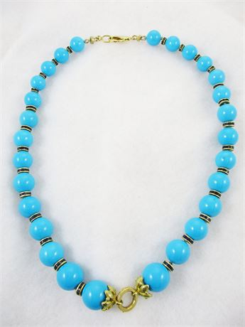 18K YELLOW GOLD AND TURQUOISE NECKLACE