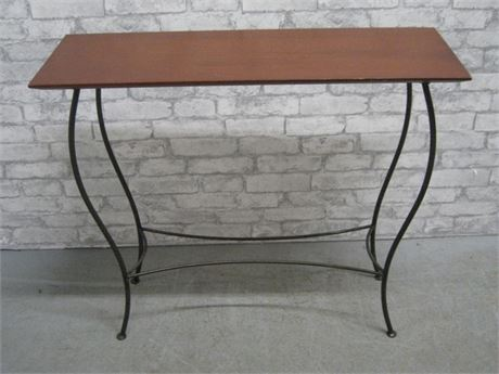 SMALL WROUGHT IRON STYLE CONSOLE TABLE WITH WOOD TOP