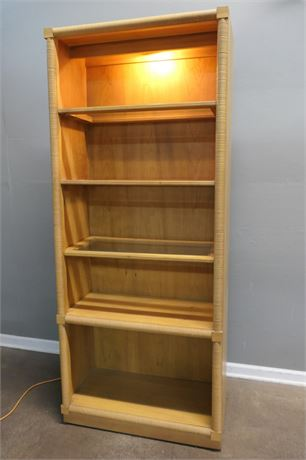 Lighted Book Shelf Unit with Beveled Glass Shelves and Ribbed Edges