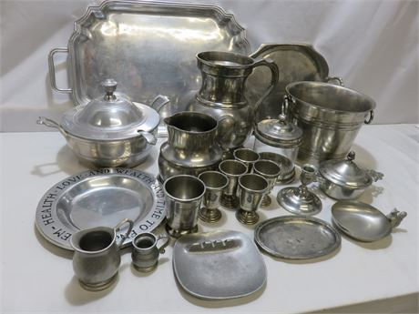 21-Piece Vintage Pewter Tableware Lot