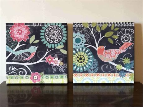 Bird & Floral Canvas Art