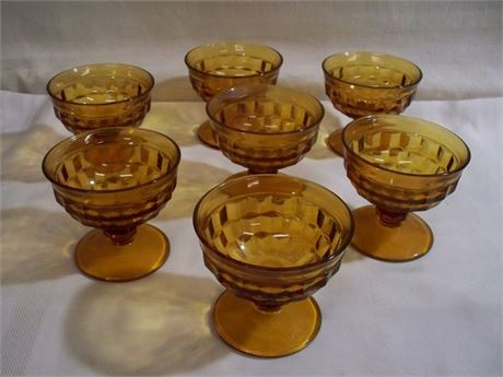 7 AMBER COLORED FOOTED SORBET/DESSERT CUPS