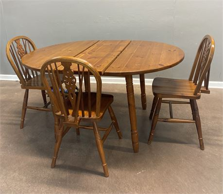 Rustic Pine Round Table and Three Chairs