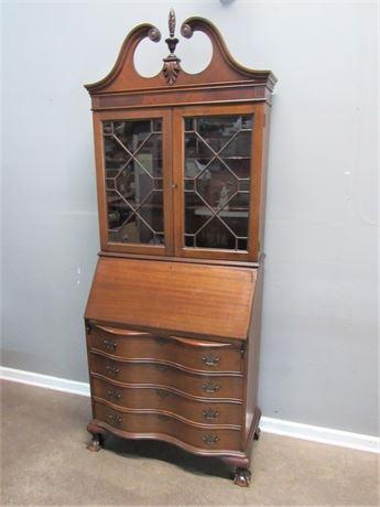 Vintage Serpentine Front Chippendale Style Secretary Desk