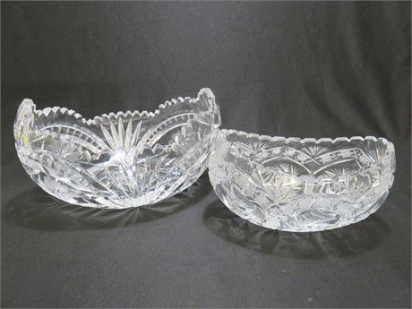 Scalloped Crystal Crescent Bowls