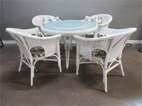Wicker Table with Protective Glass Top and 4 Chairs
