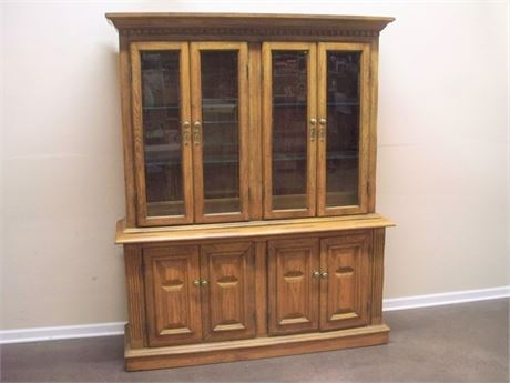 VERY NICE 2 PIECE OAK CHINA HUTCH