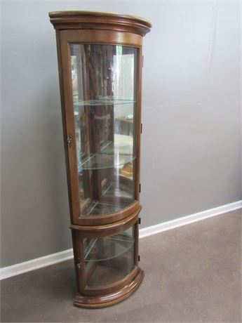 Corner Curved Glass Curio Cabinet