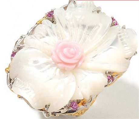 Gems en Vogue 30 x 22mm Dyed Mother-of-Pearl, Pink Sapphire & Shell Flower Ring