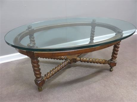 Glass Top Spiral Leg Coffee Table