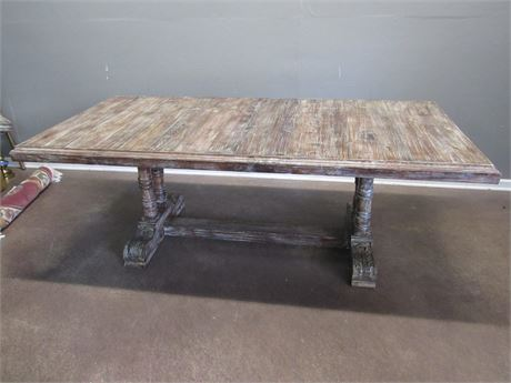Vintage Look Dining Table - Heavily Distressed/Patination