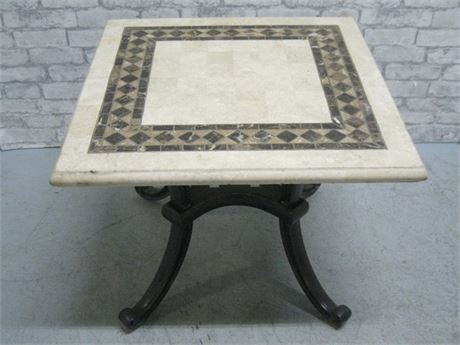 MARBLE TOP TABLE WITH METAL BASE