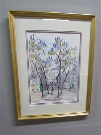 Framed and Triple Matted French Impressionist Watercolor Print - Denise Bertiere