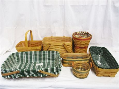 LOT OF BEAUTIFUL BASKETS FROM LONGABERGER AND ROYCE