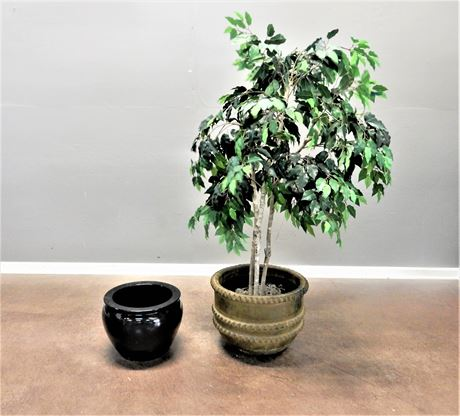 Two Ceramic Planter Pots with an Artificial Ficus Tree