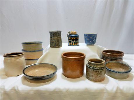 Vintage Planters Peanuts Nut Grinder and Hale Farm Pottery