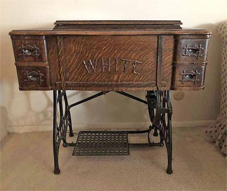 Vintage White Sewing Machine Table