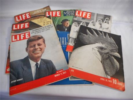 6 VINTAGE LIFE MAGAZINES 1930'S TO 1950'S - KENNEDY & THE QUIN'S