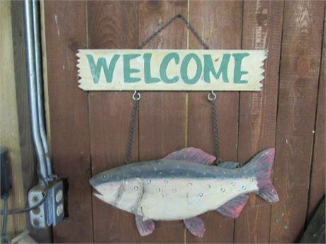 Vintage Wood Welcome Sign