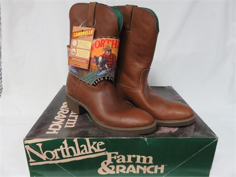 NORTHLAKE FARM & RANCH Men's Leather Western Boots - SIZE 9.5M