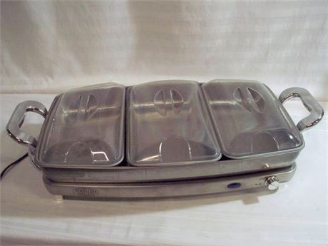 NOSTALGIA ELECTRICS STAINLESS 3-STATION BUFFET/WARMING TRAY