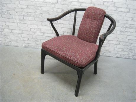 SIDE CHAIR WITH DARK WOOD FINISHED ARMS AND UPHOLSTERED SEAT CUSHION AND BACK