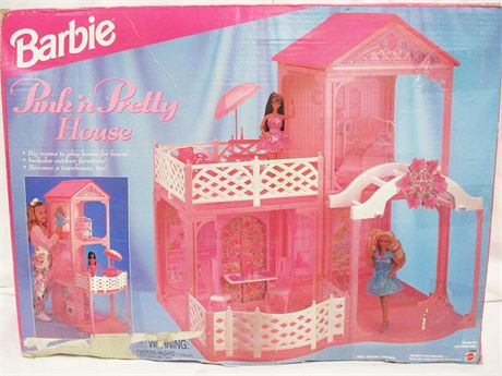 1995 MATTEL BARBIE PRETTY 'N PINK HOUSE