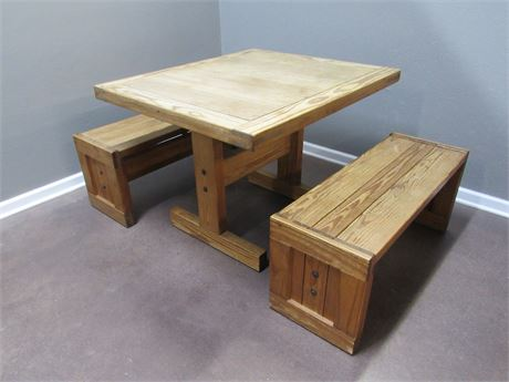 THIS END UP TRESTLE TABLE WITH 2 BENCHES