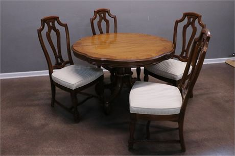 Dining Table with 6 chairs (1 captain), 2 leave, 2 support legs