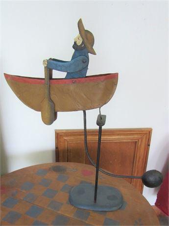 Metal Rocking Rowing Pendulum Folk Art Style Row Boat