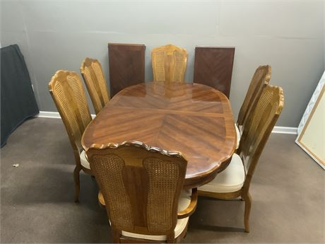 Parquet Dining Table with (6) Cane Back Chairs