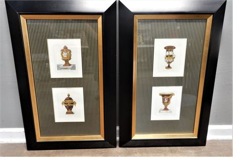 Contemporary Prints in Black and Gold Tone Frames.