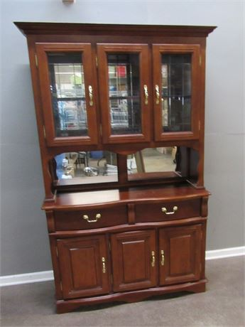 Nice Mirrored Back 2 Piece China Hutch