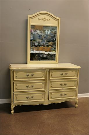1960's French Provincial Style 6 Drawer Dresser with Mirror