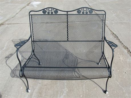 OUTDOOR/PATIO FURNITURE - WROUGHT IRON AND WIRE MESH LOVESEAT