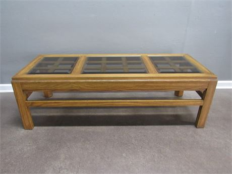 Oak Coffee Table Lattice Top with Smoked Beveled Glass Top