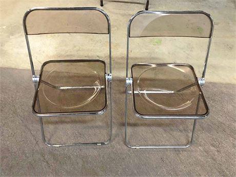 1960's Giancarlo Piretti Lucite Folding Chairs