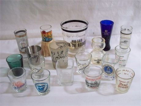 18 PIECE VINTAGE BARWARE ADVERTISING/SOUVENIR SHOT GLASS LOT