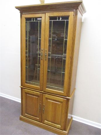 LOVELY HUTCH WITH LEADED GLASS DOORS