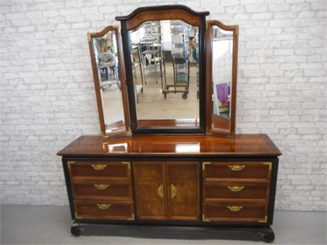 BROYHILL ASIAN INSPIRED DRESSER WITH TRI-FOLD MIRROR