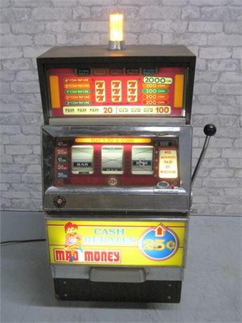 VINTAGE BALLY MAD MONEY ONE ARMED BANDIT SLOT MACHINE