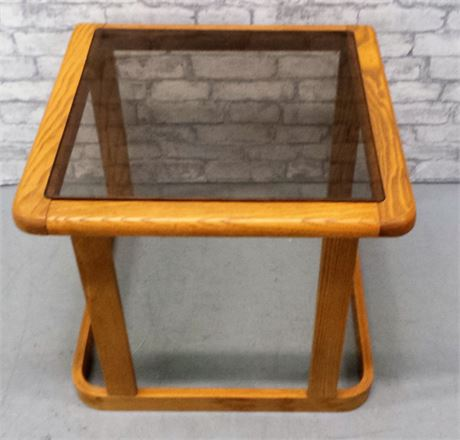 Oak & Glass  Square End Table