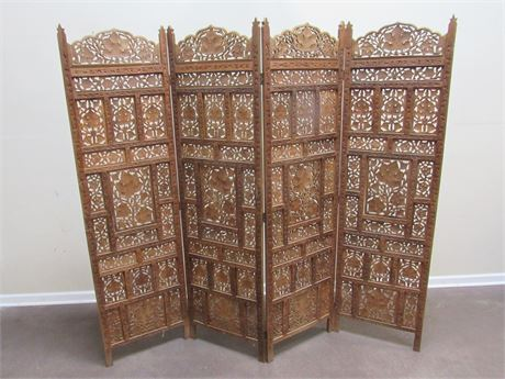 BEAUTIFUL 4-PANEL CARVED WOOD ROOM DIVIDER/SCREEN