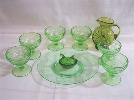 9 PIECE GREEN GLASS LOT INCLUDING DEPRESSION GLASS