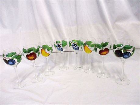 LOT OF 8 PAINTED GOBLETS