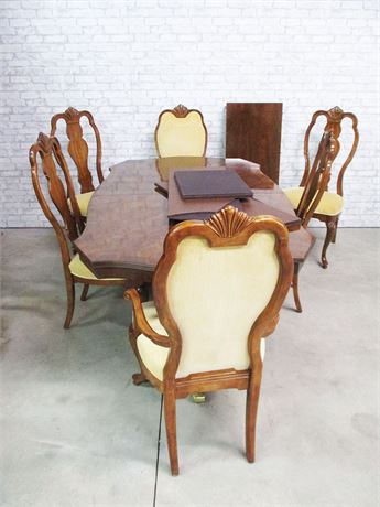 "GORGEOUS BERNHARDT ""TIFFANY"" DINING TABLE, 6 CHAIRS, 1 LEAF, CUSTOM PADS"